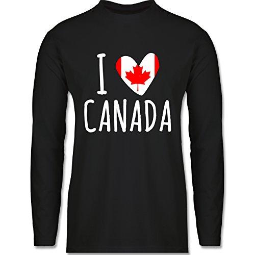 Shirtracer Love - I Love Canada - Herren Langarmshirt Schwarz