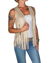 e5380680768719 Dresscode-Berlin DB Damen Weste im Boho Wildleder Look mit Fransen in  Camel, Rose…