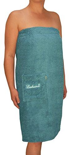 Saunakilt Alex Saunatuch für die Dame, Farbe: tauben - blau mit Knöpfen und Stickerei