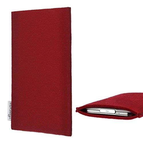 flat.design für Huawei P20 Pro Dual-SIM Handytasche Porto im Slim fit Design (rot) handgefertigte Smartphone-Tasche aus Filz für Huawei P20 Pro Dual-SIM Handy Schutz Hülle Made in Germany