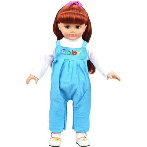 YOUG Baby Puppenkleidung Cute Clothing Strampler Outfits für 18 Zoll American Girl Doll (Blau) (Mein Leben Als Puppe-kleidung)