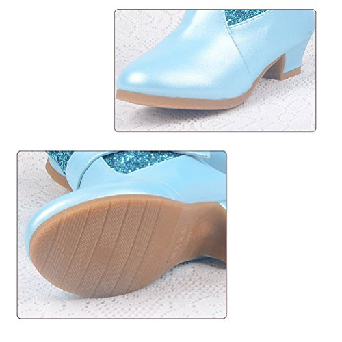 Zhhlinyuan Filles Winter Glitter High Heel Boots Kids Butterfly Decor Princess Long Boots Sky Blue
