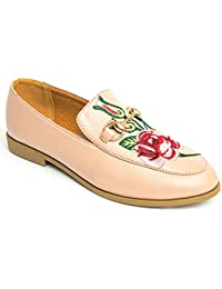 Ladies Faux Leather Floral Embroidery Stitched Oro Chain Smart Smart Chain Flat Loafer zapato b4ad04