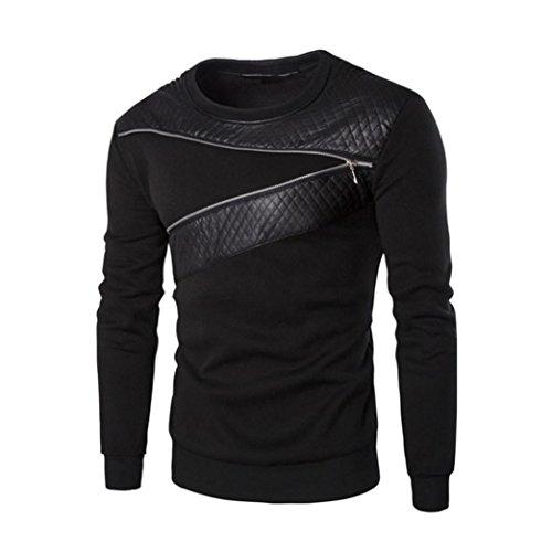 Sudaderas Hombres,Xinan Splicing Chaqueta de Cuero PU Camiseta de Deporte (L)