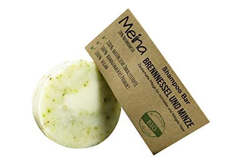 Meina - Haarseife Naturkosmetik - Bio Shampoo Bar mit Brennnessel und Minze (1 x 85 g) vegan festes Shampoo, Shampooseife für Männer und Frauen -