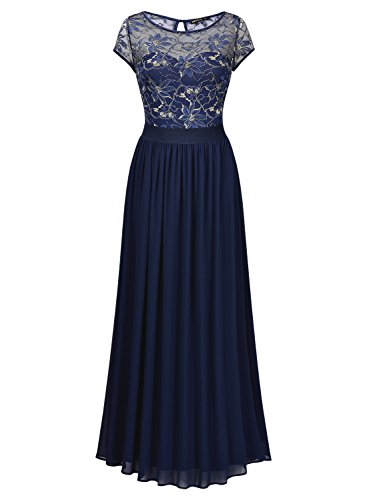 Miusol Damen Kleid Lace Blume Spitze Stickerei Rundhals Chiffonkleid Maxi Langes Abendkleid Dunkelblau Gr.XL -