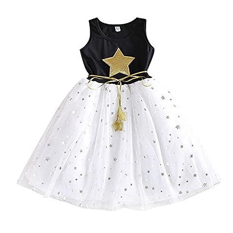 Loveble Kleine Mädchen Westen trägerlosen Stern gedruckten runden Hals Spitze Prinzessin Kleid (Alter 2-7 Jahre)
