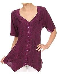 Sakkas Klaniya V Neck Button Down brodé à manches courtes Lumière Blouse Shirt Top