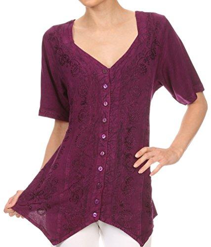 Sakkas Klaniya V Neck Button Down brodé à manches courtes Lumière Blouse Shirt Top Prune