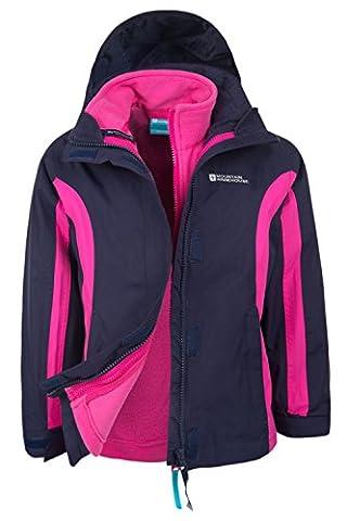 Mountain Warehouse Lightning 3-in-1-Kinderjacke wasserdicht warm Regenjacke mit Kapuze Übergangsjacke Funktionsjacke abnehmbarer Fleece-Innenteil Jungen Mädchen Marineblau
