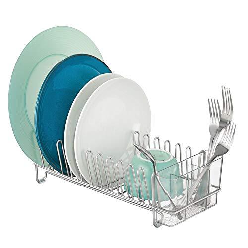 mDesign Abtropfgestell aus Metall - Abtropfablage für die Küchentheke, Arbeitsplatte oder Spüle - mit dreiteiligem Besteckhalter aus Kunststoff - silberfarben und durchsichtig