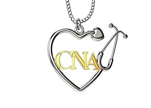 Caring Hands Gifts Colgante de estetoscopio con certificado CNA para enfermera, regalo CNA, plata y oro CNA