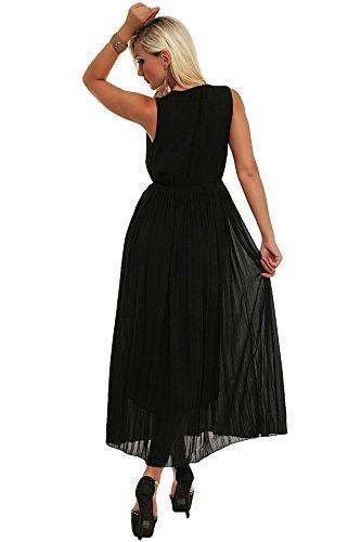 Fashion4Young 10082 robe pour femme en tricot soff-robe en chiffon pour femme taille 36/38 Noir - Noir