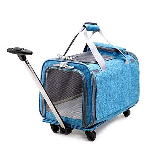 MUBAY Haustier-Reiserucksack-Tasche Katzen-Hündchen-Träger mit Trolley und Teleskopgriff Tragbare Kinderwagen-Rad-Gepäcktasche -