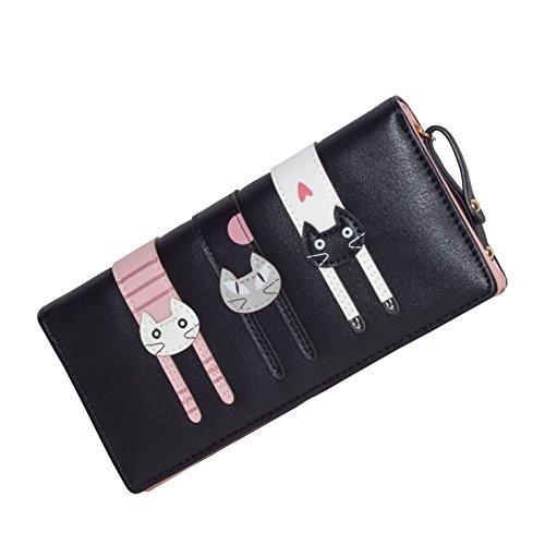JOLIN Frauen Mädchen nette Katze Mappen mit Reißverschluss Lange Portemonnaie bifold,Schwarz (Wallet Alligator-bi-fold)