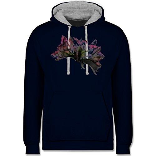 Blumen & Pflanzen - Orchidee Timelapse - Kontrast Hoodie Dunkelblau/Grau meliert
