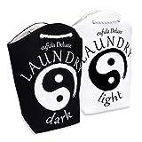 Eufida Deluxe exklusiv Yin Yang Wäschekörbe   Zwei Wäschesäcke in Schwarz und Weiß - Wäschekorb Zum Sortieren von Heller und Dunkler Wäsche