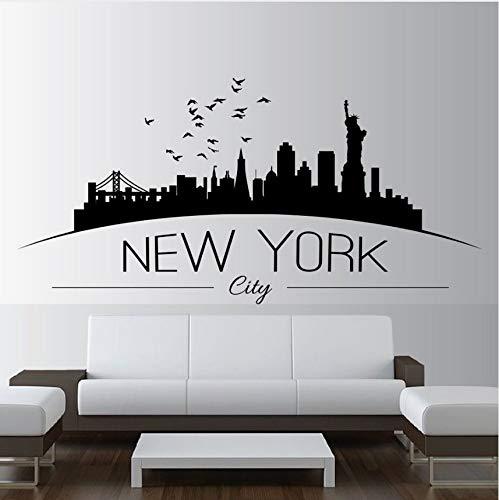 Zybnb Wohnkultur Große Nyc New York City Skyline Wandtattoos Stadt Skyline SilhouetteWandaufkleberHome Schlafzimmer Dekoration86X42 Cm