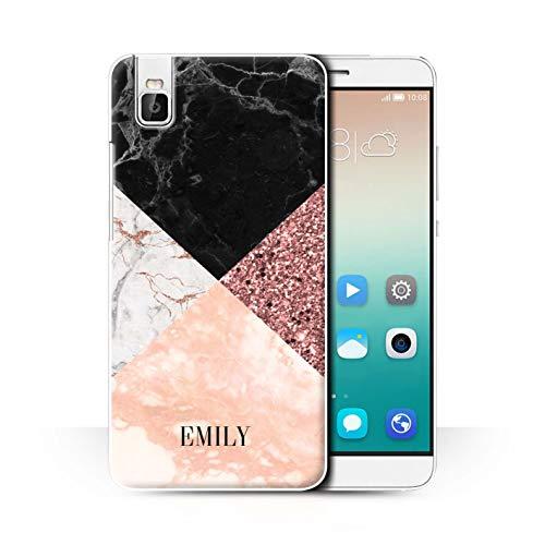 eSwish Personalisiert Individuell Geometrischer Marmor Glitter Hülle für Huawei Honor 7i/ShotX/Bling Moderne Mode Design/Initiale/Name/Text Schutzhülle/Case/Etui
