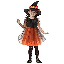 Yanhoo Mädchen Damen Niedlichen Kleinkind Kinder Baby Mädchen Halloween Kleidung Kostüm Kleid Party Kleider + Hut Outfit Cosplay Tanz Rave Für Festival