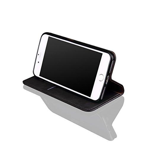 iPhone 7 Plus Handycover, LifeePro für iPhone 7 Plus Crazy Horse Pattern PU Leder Brieftasche Handycover mit Flip Stand Funktion Fotorahmen und Kartensteckplätze TPU Silikon Weiche Abdeckung Magnetver Schwarz