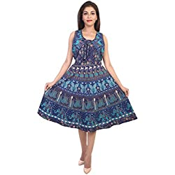 Decot Paradise Presenting Jaipuri Women Skirt Cotton short Length Printed New Fashion Dress (Blue)