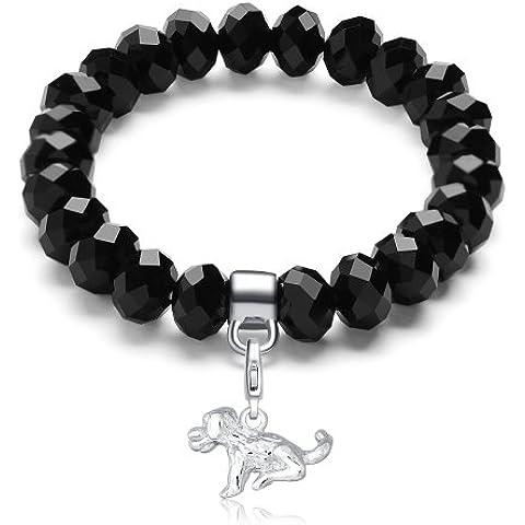Morella pulsera con perlas de cristal de color negro y colgante Charms perro para damas, en bolsa de