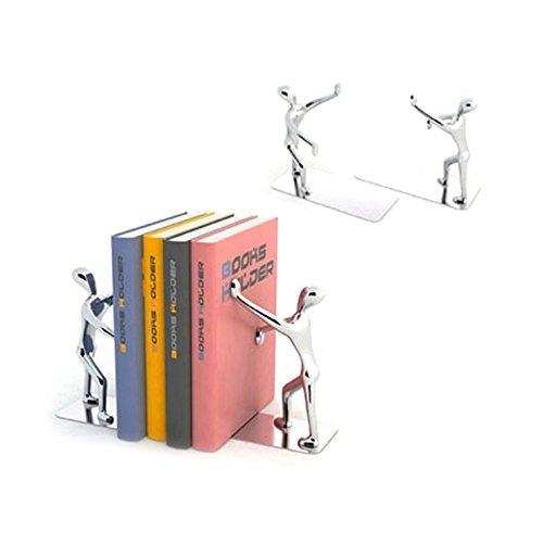 Balvi Serre-Livres Shadow Couleur : chromé Ensemble de 2 Serre-Livres Zinc