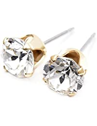 pewterhooter Gold plated stud earrings made with sparkling Diamond white crystal from SWAROVSKI®.