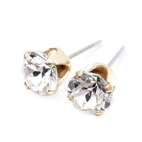 pewterhooter. Gold plattierte Ohrstecker mit Diamant weißem Kristall von SWAROVSKI®. - Ohrringe Diamant-ohrstecker