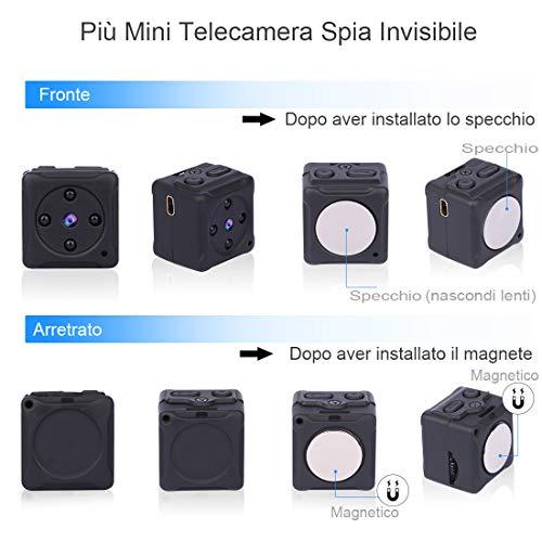 Micro Telecamera Spia Nascosta,NIYPS 1080P Portatile Mini Telecamera di Sorveglianza con Visione Notturna,Sensore di Movimento y Batteria, Senza Fili Esterno/Interno Spy Cam Piccola Microcamera Spia - 4