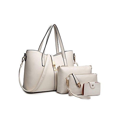 Sifini dell'unità di elaborazione modo delle donne della borsa del cuoio + shoulder bag + borsa + del supporto di carta 4pcs set tote bag