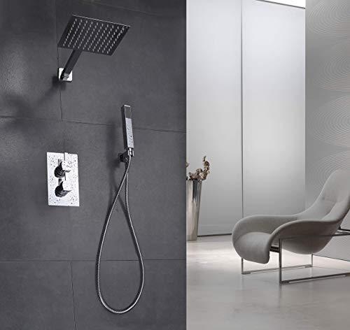 Elbe Unterputz Duschsystem aus Edelstahl 304 mit Thermostat, Duschset mit Regendusche und Handbrause, Duschsäule mit Quadratische Überkopfbrause, einfache Installation