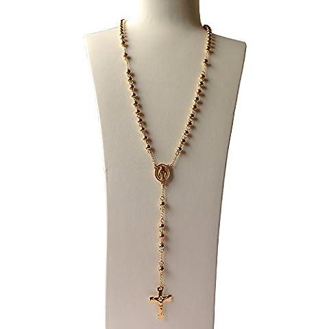 J Brillance Unisexe 6mm Perle 18K Doré en acier inoxydable catholique Chapelet Collier Crucifix pendentif et chaîne 71,1cm