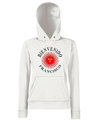T-Shirtshock - Sweats a capuche Femme T0463 bienvenido papa francesco religioni celtic Blanc