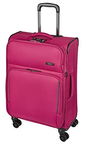 Koffer-Stoff-XL-Reise-Trolley-Pink-78 cm-Groß-4 Rollen-3,8 kg-Leicht-TSA-Bowatex
