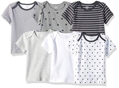 Amazon Essentials 6-Pack Lap-Shoulder Tee infant-and-toddler-t-shirt-sets, Uni Star Stripe Neutral, 3-6M - Lap-set