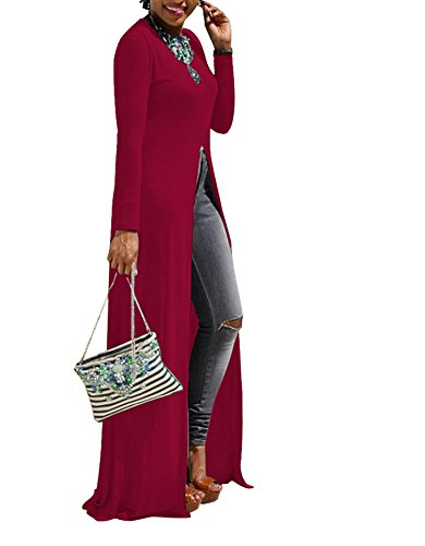 Sommer Damen Elegant Blusenkleider Einfarbig Shirtkleider Langarm Rundhals Lange Kleider Schlitz Freizeitkleid Rotwein