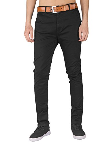 Italy morn uomo uomini chino pantaloni kaki misura sottile pantaloni in tessuto twill di cotone elasticizzato m nero