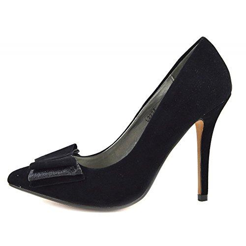 Kick Footwear - Donna Stilletto Tacco Classico Partito Sembra Corte Scarpe Nero
