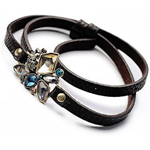 Sharp moda in pelle a mano farfalla cristallo Bracciale in pelle per donna lb1130