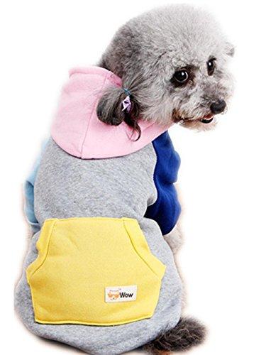 Para mascotas con capucha del mono,RETUROM LINDO caliente de la capa del suéter con capucha del mono del perro de perrito del animal doméstico de ropa Outwear (L, Rosa)