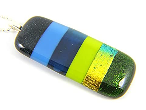 Dichroic Glass Pendant - Handmade, Large & Chunky in Blues & Greens - 6.5cm x 2.5cm - Includes Gift