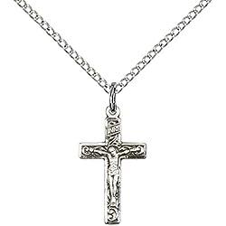 F A Dumont Church Supplies Anhänger Kreuz Christ Jesus Crucifix Silber Massiv mit 18 Kette aus Sterling Silber