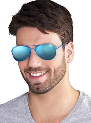 TH-MP Verspiegelte Pilotenbrille Fliegerbrille blau Partybrille Sonnenbrille JGA Outfit Zubehör Accessoire Mottoparty