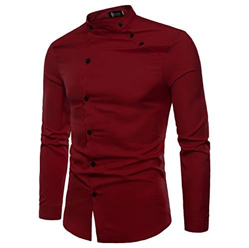 Jeevaan Men's Plain Solid Slim Fit Cotton Causal Shirt (Maroon; Medium)