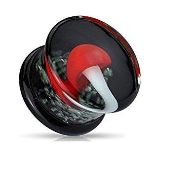 00GA (10 mm) Pilz rot und weiß mit im Dunkeln leuchten Sparkles Flesh-Tunnel-Ohr-Ohrring-Ohrring Pyrexglas Doppel Ausgestelltes (Dunkler Schmetterling Kostüme)