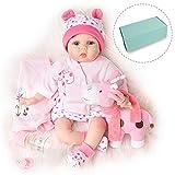 Reborn Bambola Reale Ragazza Bambina Femmina Silicone Vinile Vestiti Rosa con Giocattolo Giraffa 55 cm
