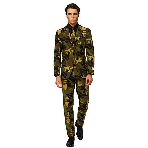 OppoSuits Abschlussball kostüme für Herren - Mit Jackett, Hose und Krawatte mit Festlichen Print, Commando, 54