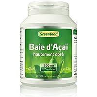 Greenfood – Acai Berry, 500mg, de fortes doses supplémentaires (30: 1 extrait), original baie d'açai brésilienne, 120 capsules vegan - sans additifs artificiels, sons OGM, vegan